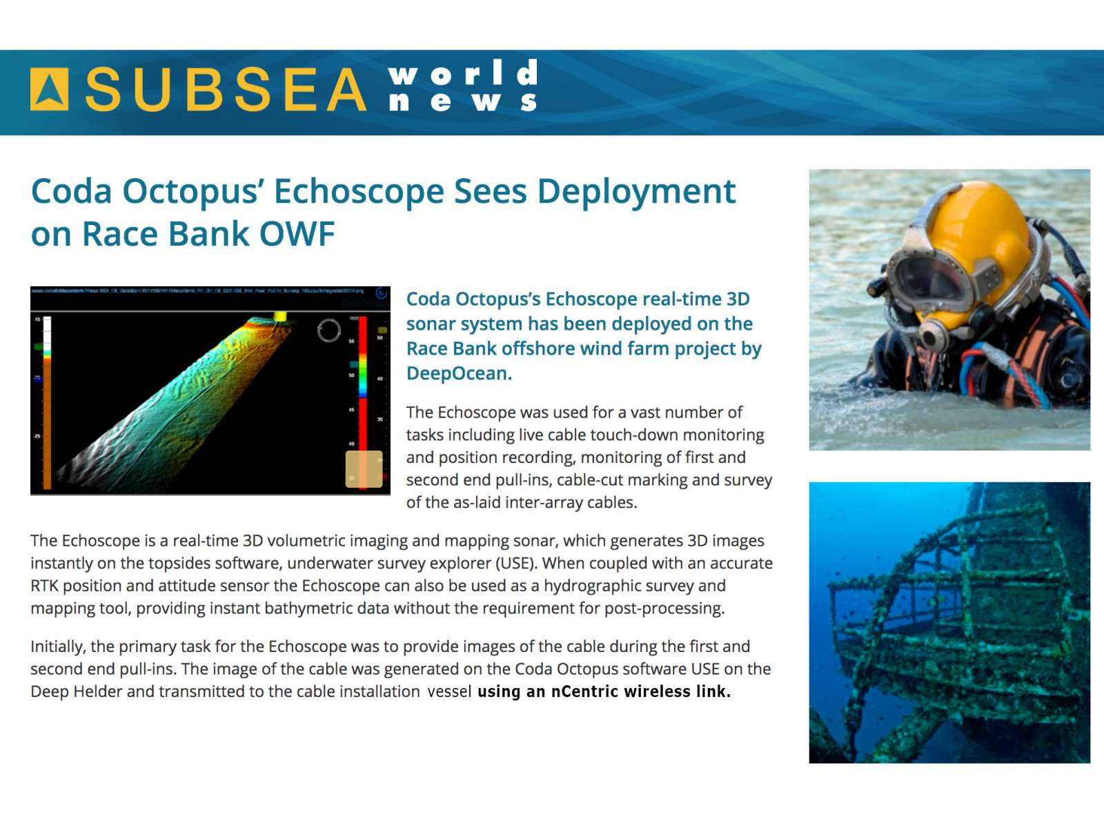 Subsea World News published an article about DeepOcean using nCentric nodes with Coda Octopus technology